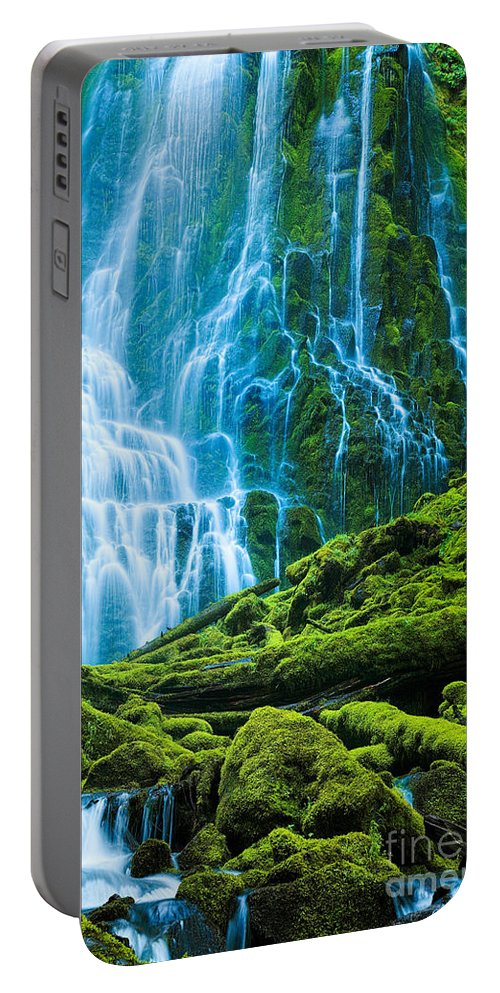 America Portable Battery Charger featuring the photograph Green Waterfall by Inge Johnsson