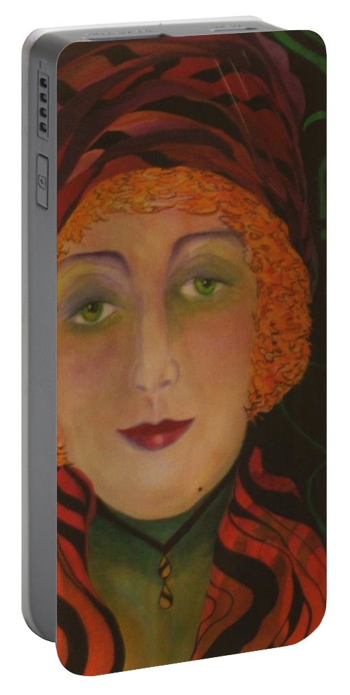 Women Portable Battery Charger featuring the painting Green With Envy by Carolyn LeGrand