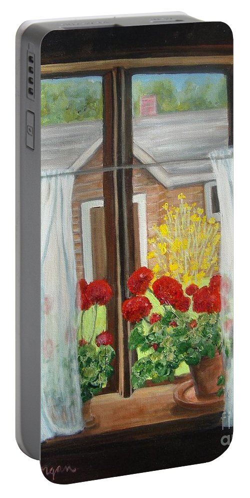 Windows Portable Battery Charger featuring the painting Greet The Day by Laurie Morgan