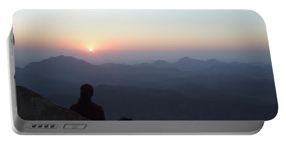 Egypt Portable Battery Charger featuring the photograph Greeting Sunrise On Sinai by Katerina Naumenko