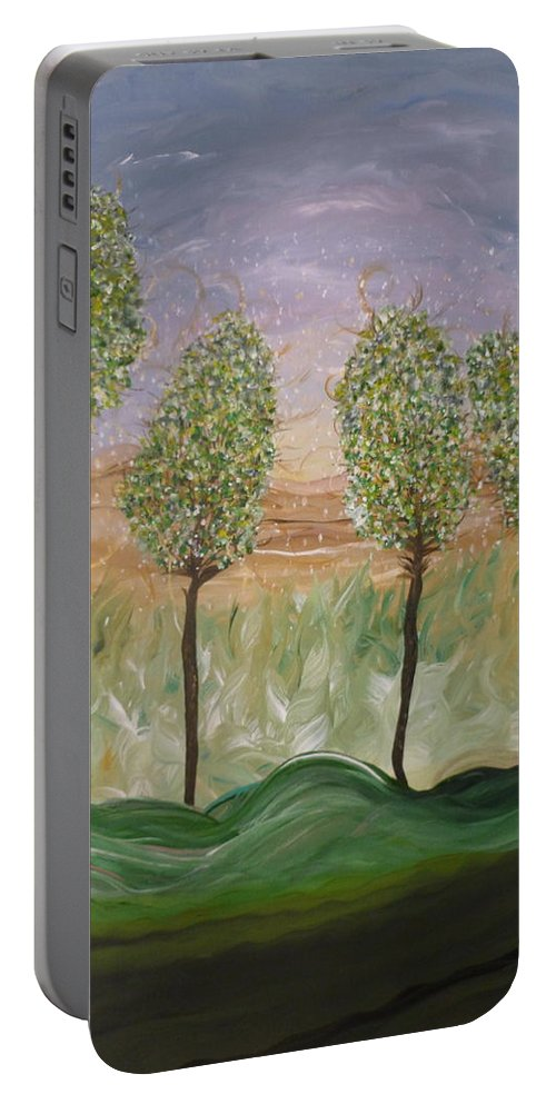 Whimsical Scene Portable Battery Charger featuring the painting Greetings From The Trees by Sara Credito