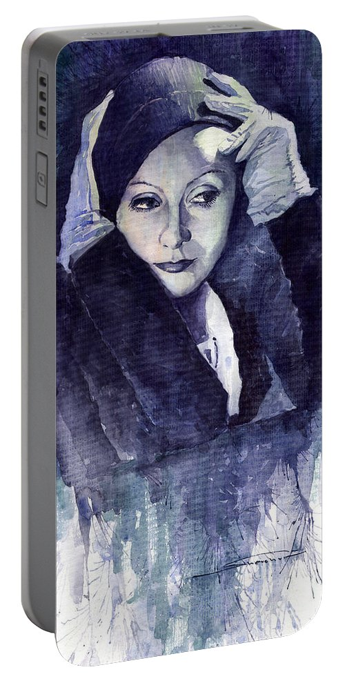 Watercolour Portable Battery Charger featuring the painting Greta Garbo by Yuriy Shevchuk