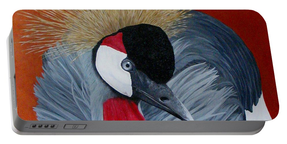 Cranes Portable Battery Charger featuring the painting Grey Crowned Crane by Elaine Booth-Kallweit