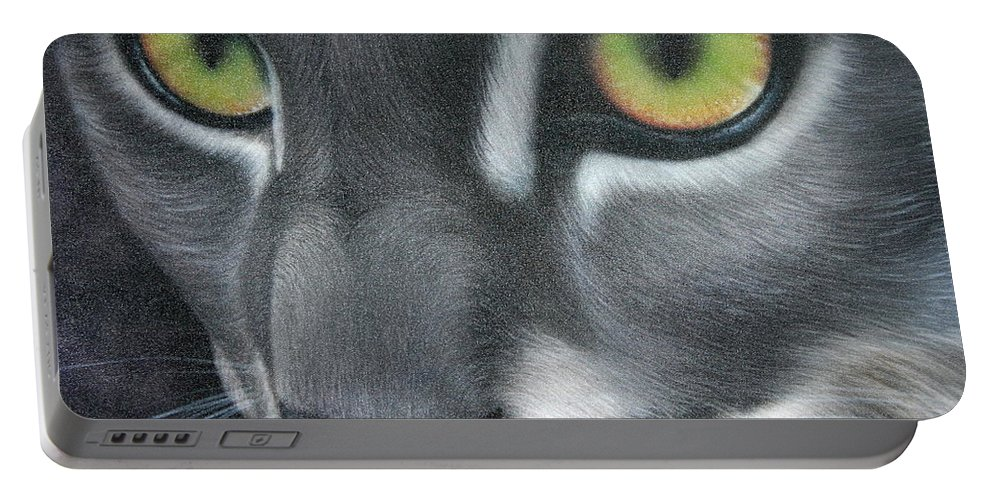 Cat Portable Battery Charger featuring the painting Grey Lady by Darren Robinson