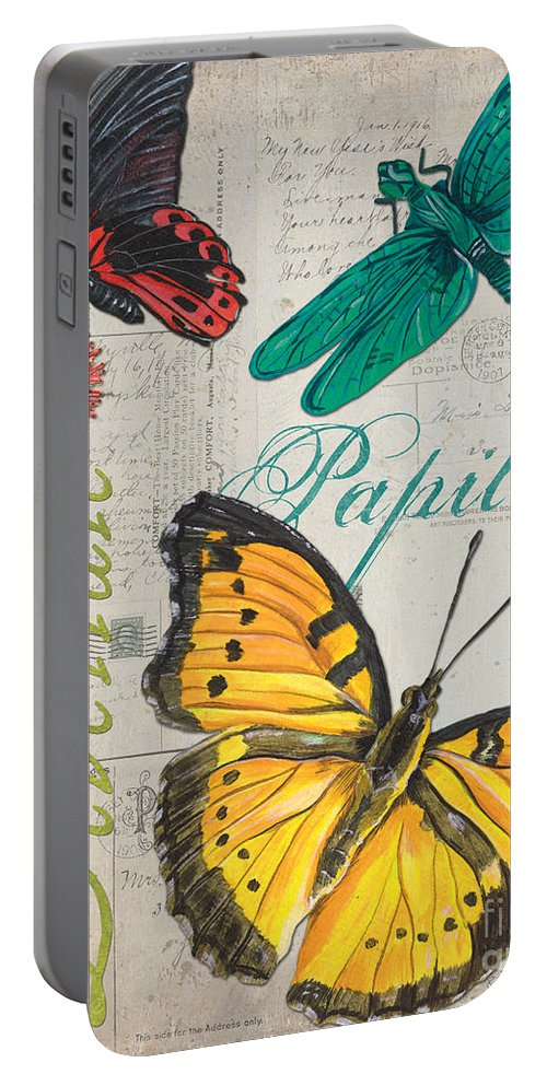 Butterfly Portable Battery Charger featuring the painting Grey Postcard Butterflies 3 by Debbie DeWitt