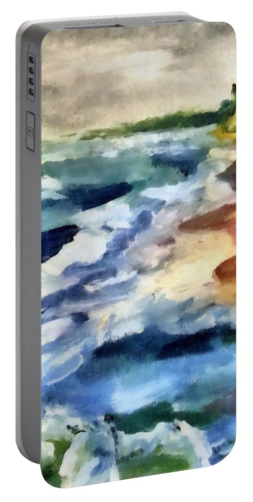 Beach Portable Battery Charger featuring the painting Grey Sky Day On The Lake by Michelle Calkins