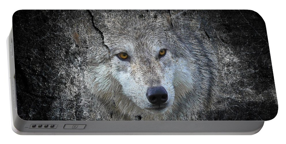 Wolves Portable Battery Charger featuring the photograph Grey Stone by Athena Mckinzie