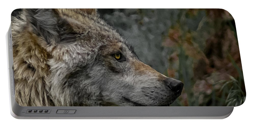 Wolf Portable Battery Charger featuring the digital art Grey Wolf Profile 3 by Ernie Echols