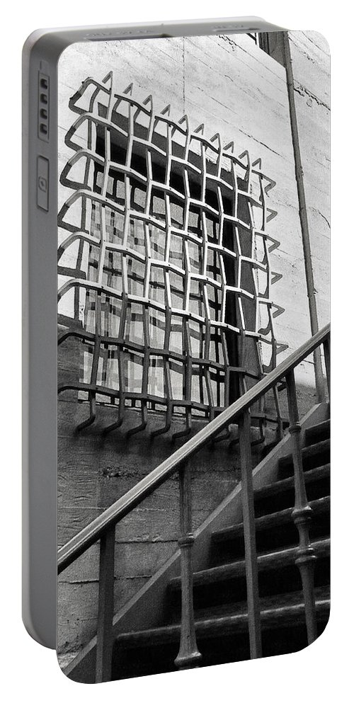 Grids Grit And Rails Portable Battery Charger featuring the photograph Grids Grit And Rails by Glenn McCarthy Art and Photography