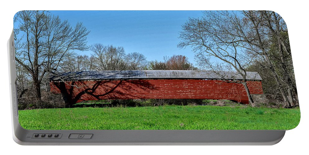 Griesemer's Portable Battery Charger featuring the photograph Griesemers Mill Covered Bridge Berks County Pennsylvania by Bill Cannon