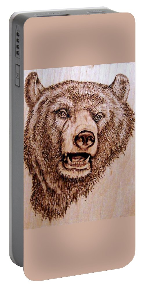 Grizzly Portable Battery Charger featuring the pyrography Grizzly Bear by Danette Smith