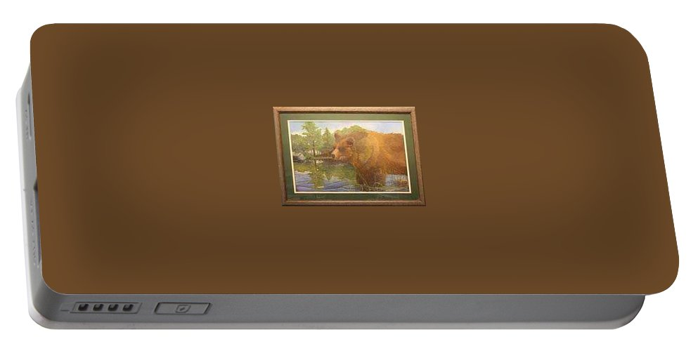 Rick Huotari Portable Battery Charger featuring the painting Grizzly by Rick Huotari