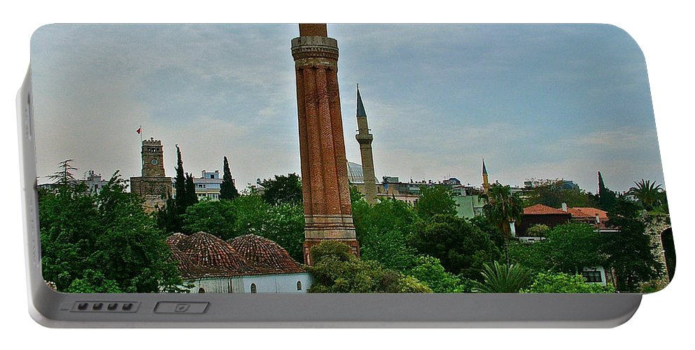 Grooved Minaret Fromthirteenth Century In Antalya Portable Battery Charger featuring the photograph Grooved Minaret Fromthirteenth Century In Antalya-turkey by Ruth Hager