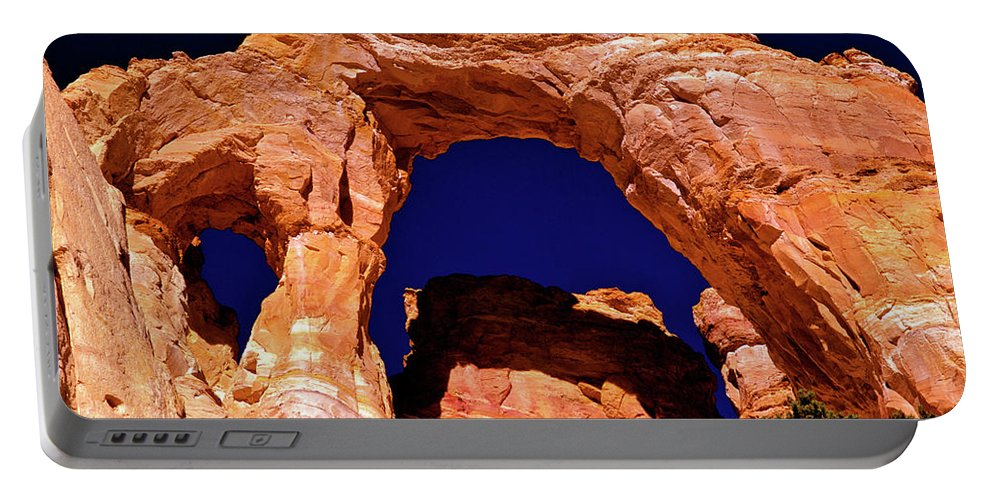 Arch Portable Battery Charger featuring the photograph Grosvenor Arch Sunset Kodachrome Basin by Ed Riche