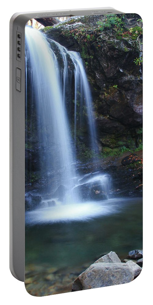 Waterfall Portable Battery Charger featuring the photograph Grotto Falls Great Smoky Mountains by Shari Jardina
