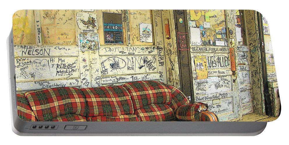Rebecca Korpita Portable Battery Charger featuring the photograph Front Porch - Ground Zero Blues Club Clarksdale Ms by Rebecca Korpita