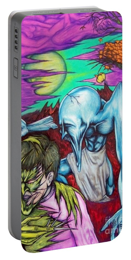 Tmad Portable Battery Charger featuring the drawing Growing Evils by Michael TMAD Finney