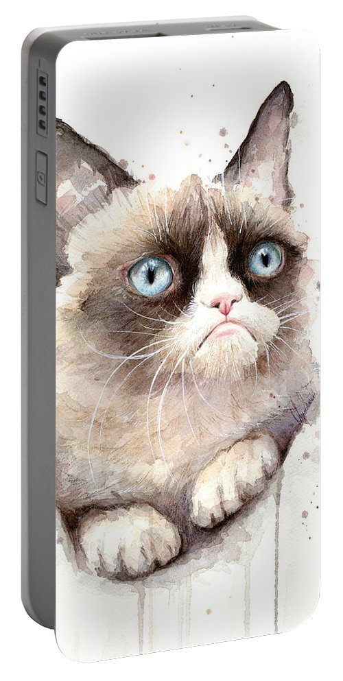 Grumpy Portable Battery Charger featuring the painting Grumpy Cat Watercolor by Olga Shvartsur
