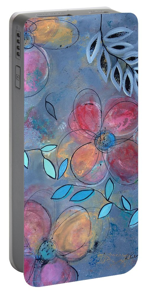 Floral Portable Battery Charger featuring the painting Grunge Floral II by Ruth Palmer