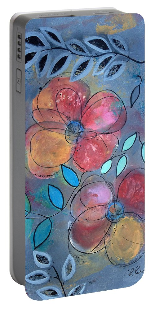 Floral Portable Battery Charger featuring the painting Grunge Floral by Ruth Palmer