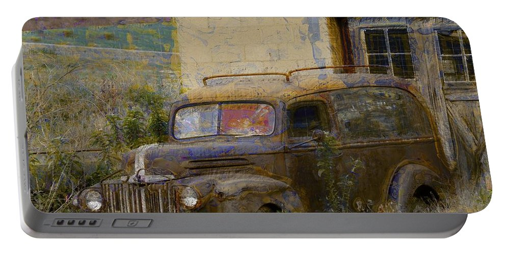Grungy Vintage Ford Panel Truck Portable Battery Charger featuring the photograph Grungy Vintage Ford Panel Truck by Liane Wright