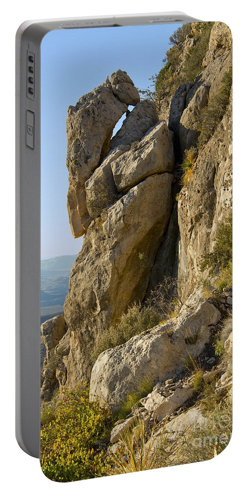 Guadalupe Mountains National Park Texas Guadalupe Peak Trail Trails Mountain Rock Rocks Landscape Landscapes Portable Battery Charger featuring the photograph Guadalupe Peak Trail by Bob Phillips