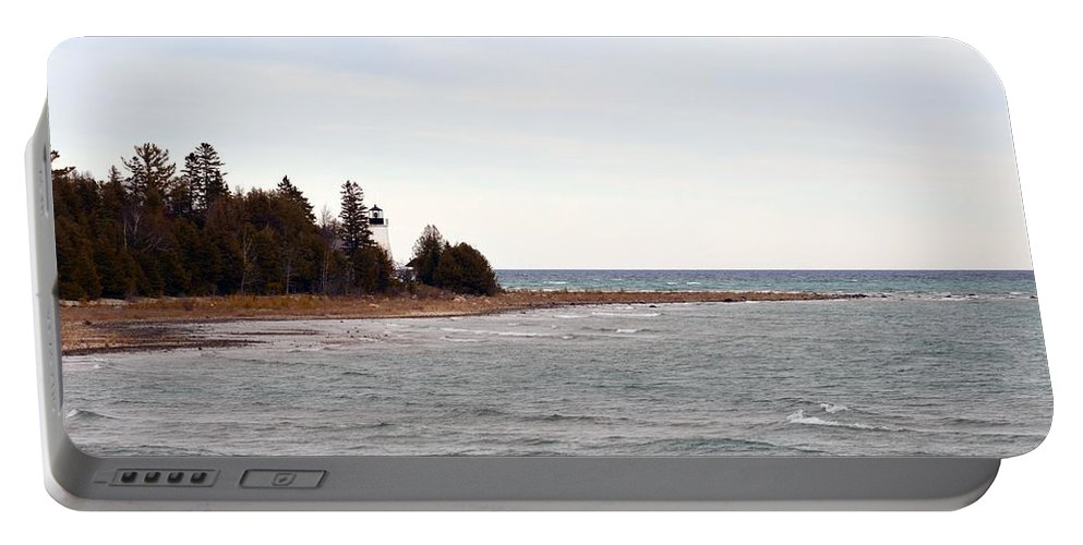 Presque Isle Portable Battery Charger featuring the photograph Guard On The Point by Linda Kerkau