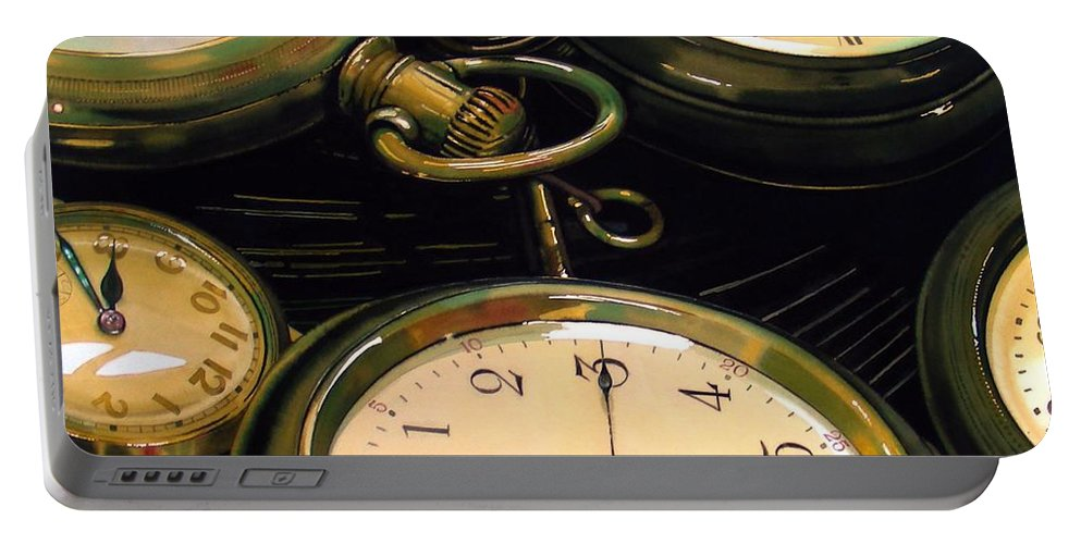 Clocks Portable Battery Charger featuring the painting Guardians Of Time by Denny Bond