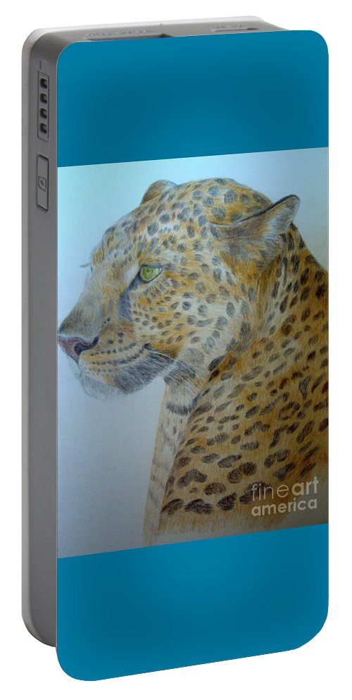 Cat Wild Cat Colored Pencils Paper Drawing Portable Battery Charger featuring the drawing Guepard by Nadi Sabirova