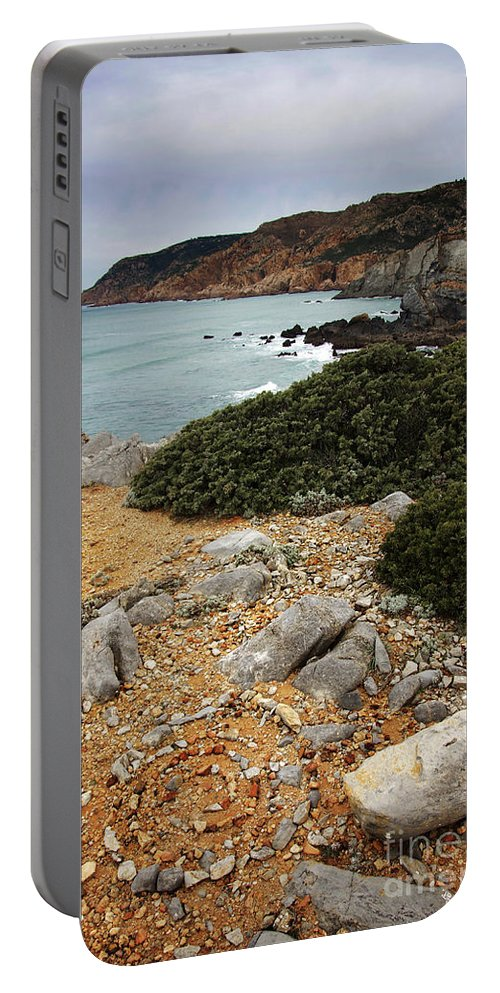 Atlantic Portable Battery Charger featuring the photograph Guincho Cliffs by Carlos Caetano
