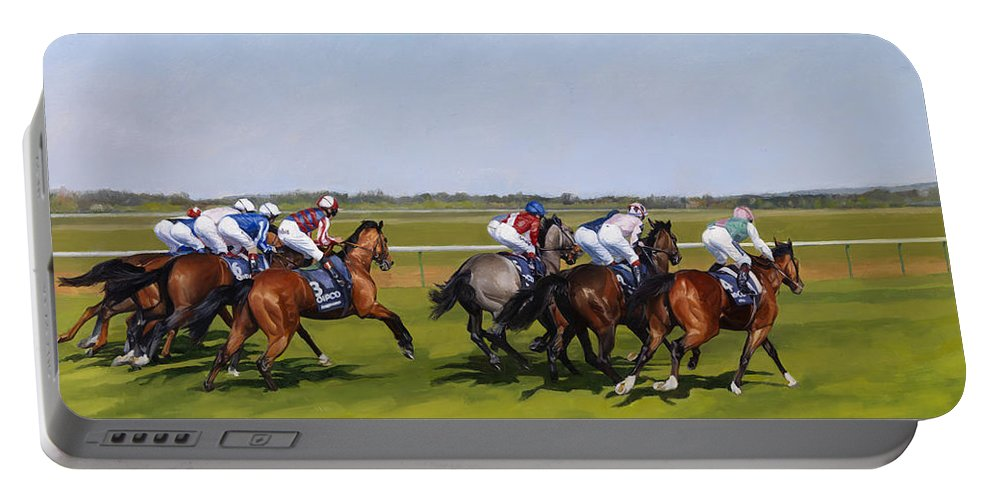 Horse Portable Battery Charger featuring the painting Guineas by Emma Kennaway
