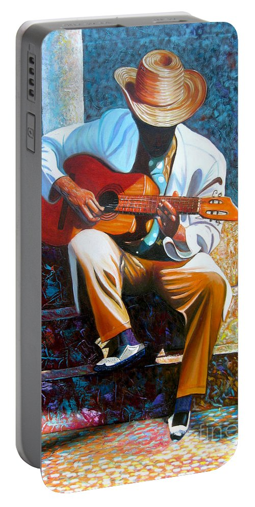 Cuban Art Portable Battery Charger featuring the painting Guitar by Jose Manuel Abraham