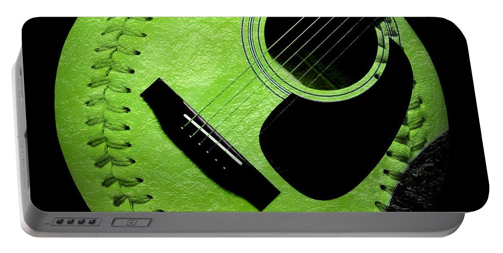 Baseball Portable Battery Charger featuring the digital art Guitar Keylime Baseball Square by Andee Design