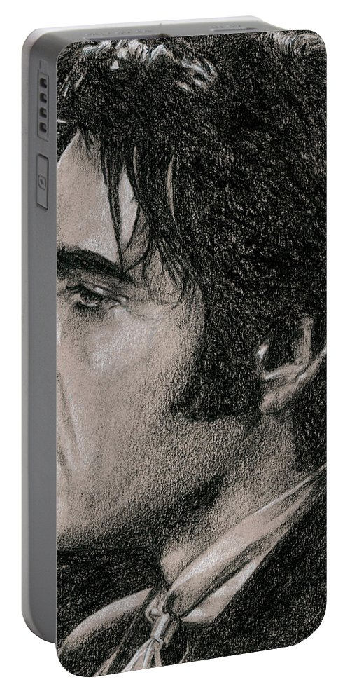 Elvis Portable Battery Charger featuring the drawing Guitar Man by Rob De Vries