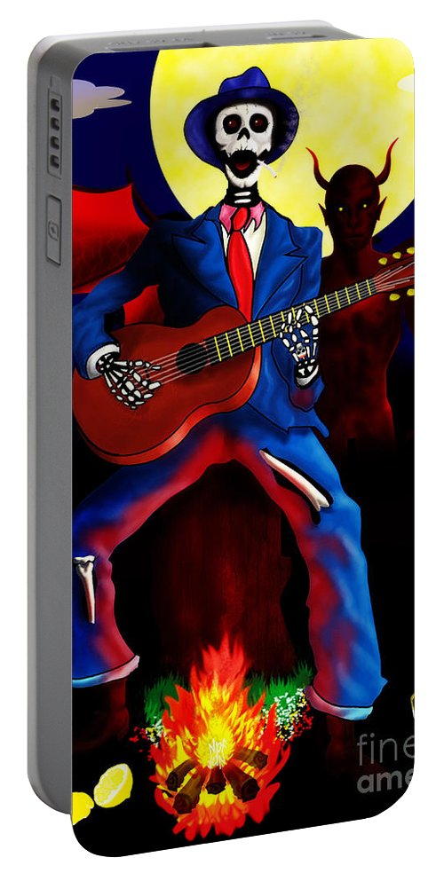 Crossroads Portable Battery Charger featuring the painting Guitar Man Upstairs by Neil Finnemore
