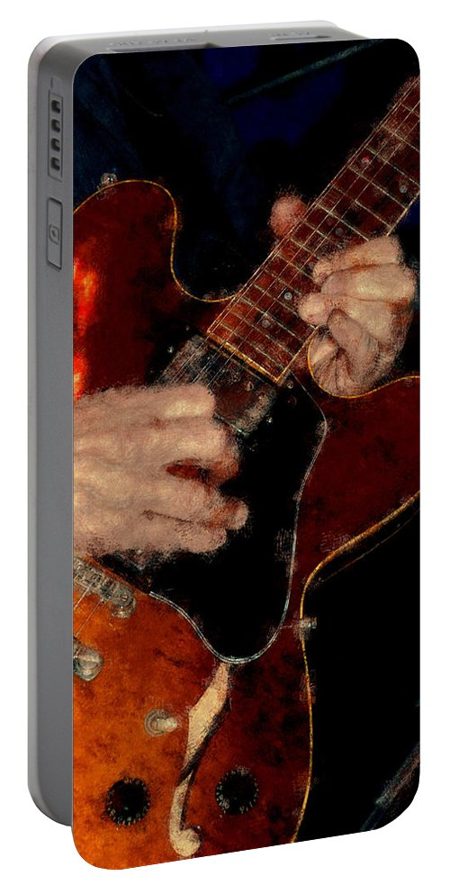 Band Portable Battery Charger featuring the photograph Guitar Pastel Chalk 1 by David Lange