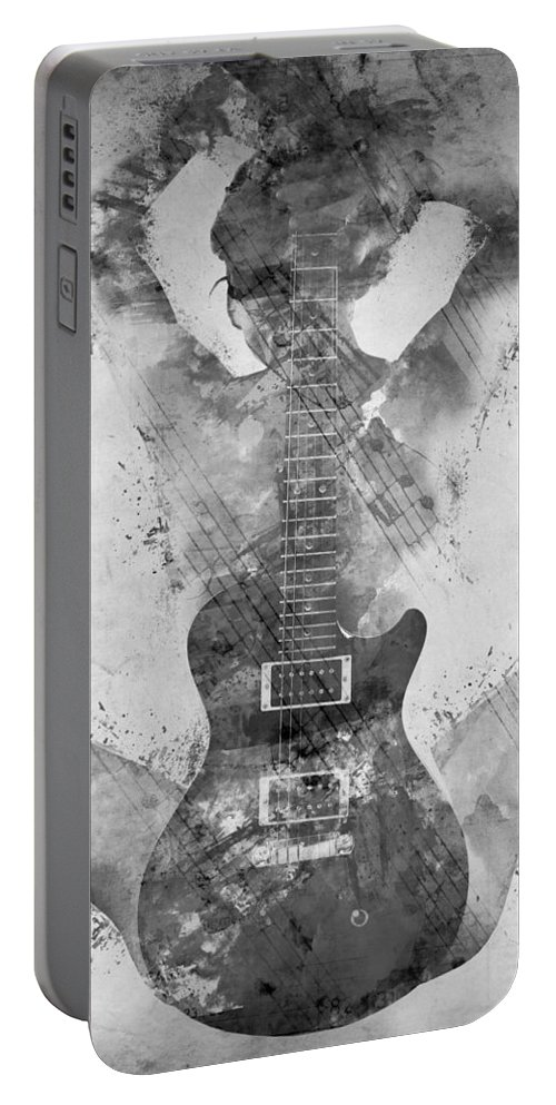 Guitar Portable Battery Charger featuring the digital art Guitar Siren in Black and White by Nikki Smith