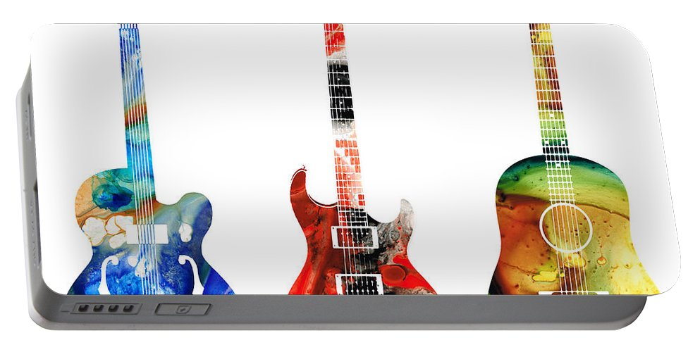 Guitar Portable Battery Charger featuring the painting Guitar Threesome - Colorful Guitars By Sharon Cummings by Sharon Cummings