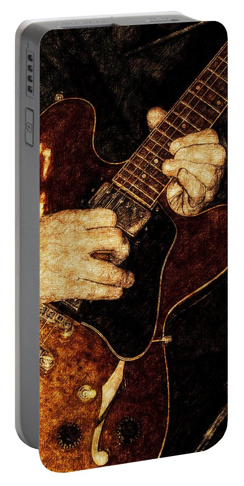 Band Portable Battery Charger featuring the photograph Guitar Tinted Copper by David Lange