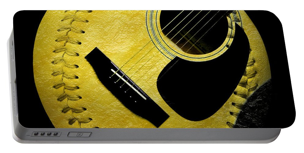 Baseball Portable Battery Charger featuring the digital art Guitar Yellow Baseball Square by Andee Design