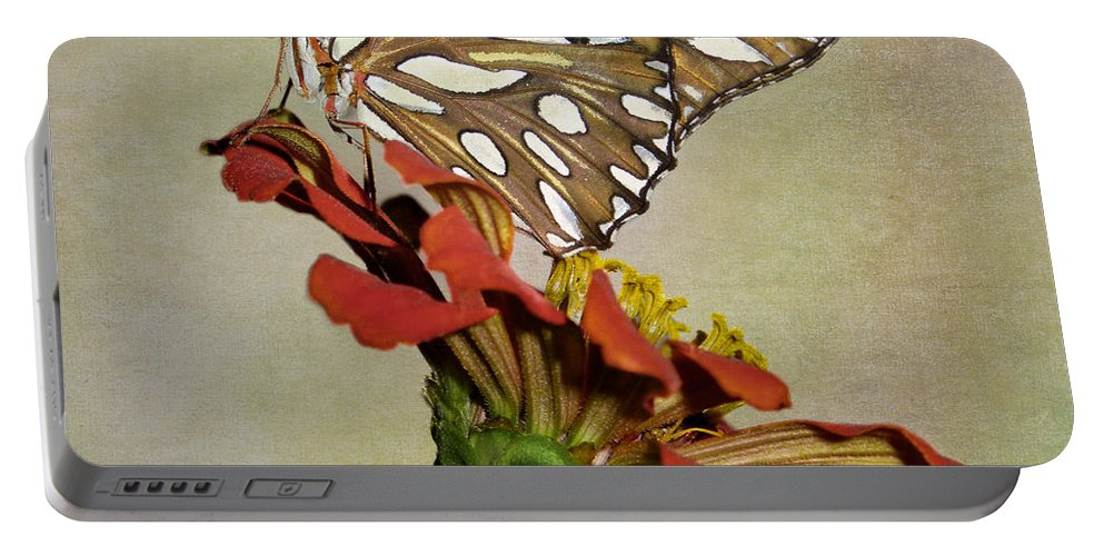 Brown Portable Battery Charger featuring the photograph Gulf Fritillary Butterfly by David and Carol Kelly