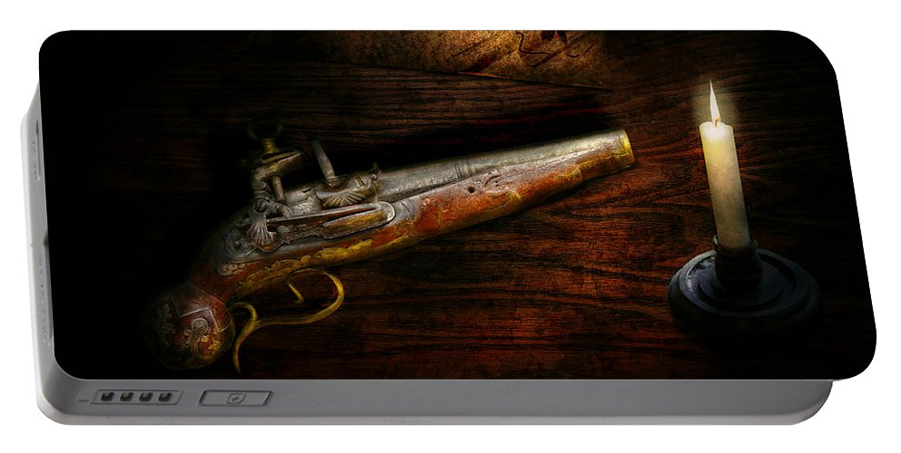 Police Portable Battery Charger featuring the photograph Gun - Pistol - Romance Of Pirateering by Mike Savad