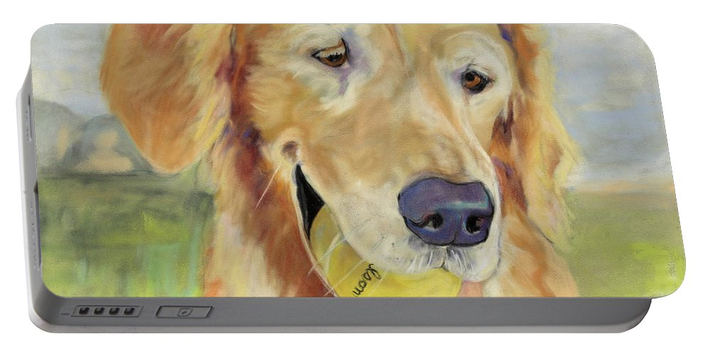 Pat Saunders-white Pastel Painting Portable Battery Charger featuring the painting Gus by Pat Saunders-White