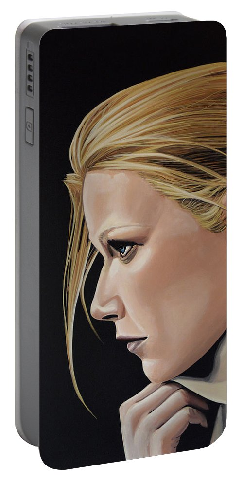 Gwyneth Paltrow Portable Battery Charger featuring the painting Gwyneth Paltrow Painting by Paul Meijering
