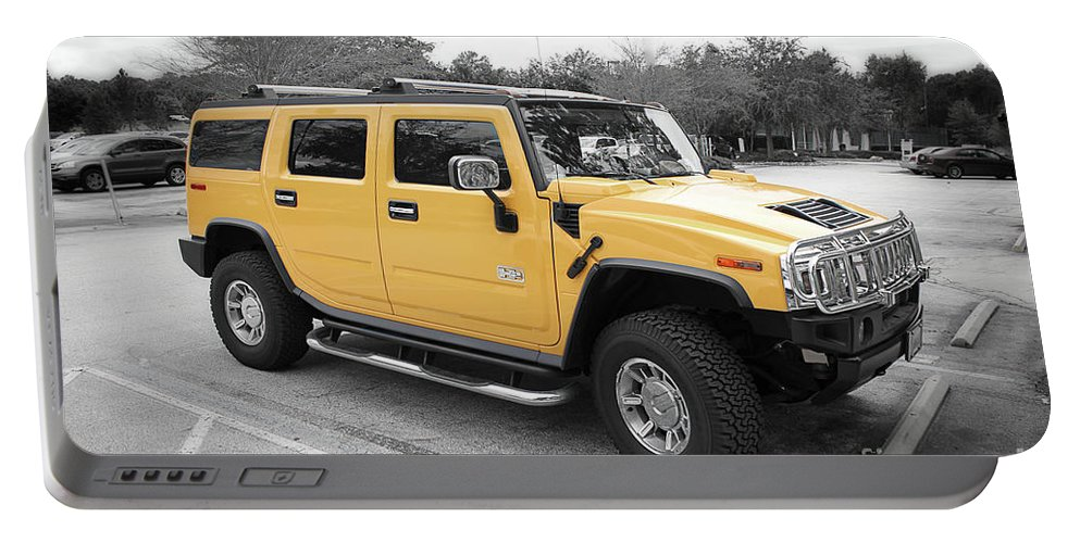 Hummer Portable Battery Charger featuring the photograph Hummer H2 Series Yellow by Carlos Diaz