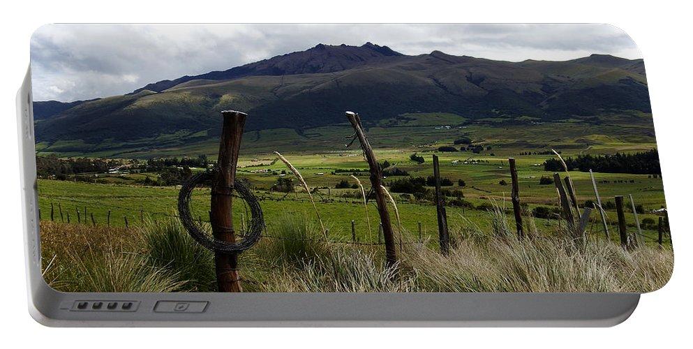Cotapaxi National Park Portable Battery Charger featuring the photograph Hacienda El Porvenir Ranch View by Kurt Van Wagner