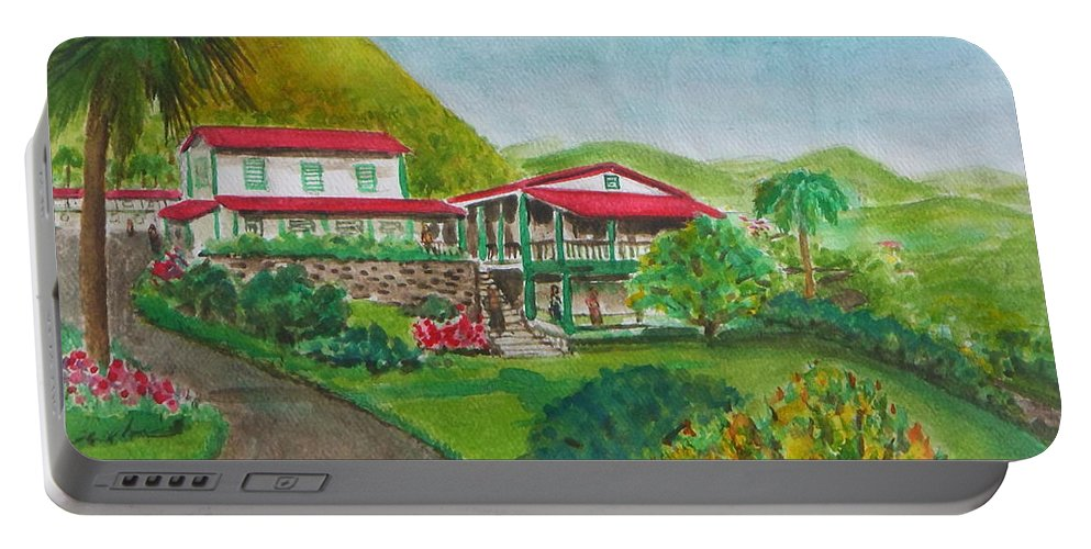 Haciendas Gripinas Punta Las Cerro Highest Peak Coffee Plantation Portable Battery Charger featuring the painting Hacienda Gripinas Old Coffee Plantation by Frank Hunter