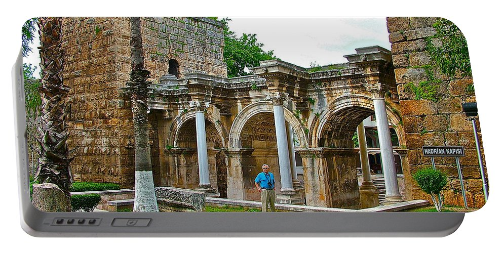 Hadrian's Gate In Antalya Portable Battery Charger featuring the photograph Hadrian's Gate In Antalya-turkey by Ruth Hager