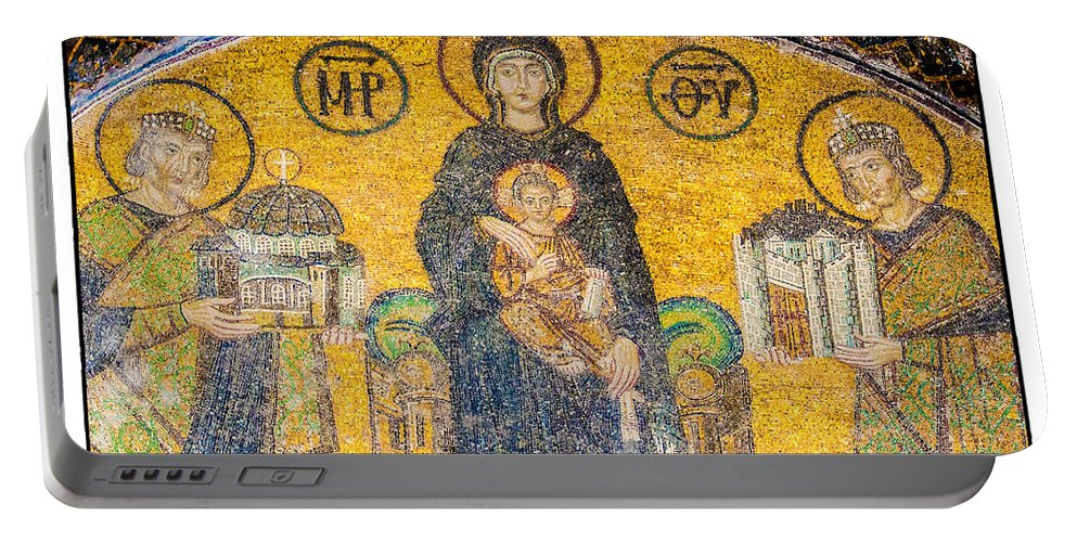 Istanbul Portable Battery Charger featuring the photograph Hagia Sofia Mosaic 03 by Antony McAulay