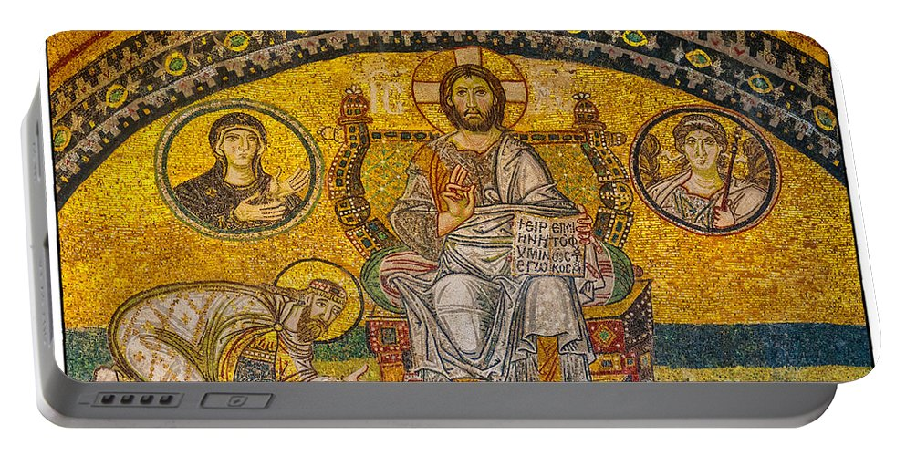 Istanbul Portable Battery Charger featuring the photograph Hagia Sofia Mosaic 04 by Antony McAulay